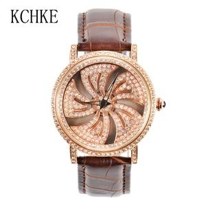 Image 3 - KCHKE New Creative Womens Watch Leather Strap Time Running Watch Women Romantic Simple Quartz Watch relogio feminino