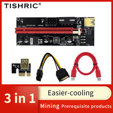 2021 TISHRIC NEW VER009s PCI PCIE Riser Card Video Card USB 3.0 Cable SATA to 6pin Extender Adapter For BTC Mining Miner