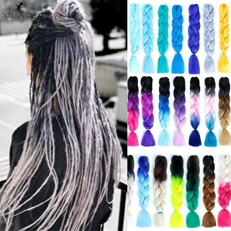 XUANGUANG Pink Purple Blue  white Color Synthetic  Jumbo Braids Ombre Braiding Hair For Women Hair Extension