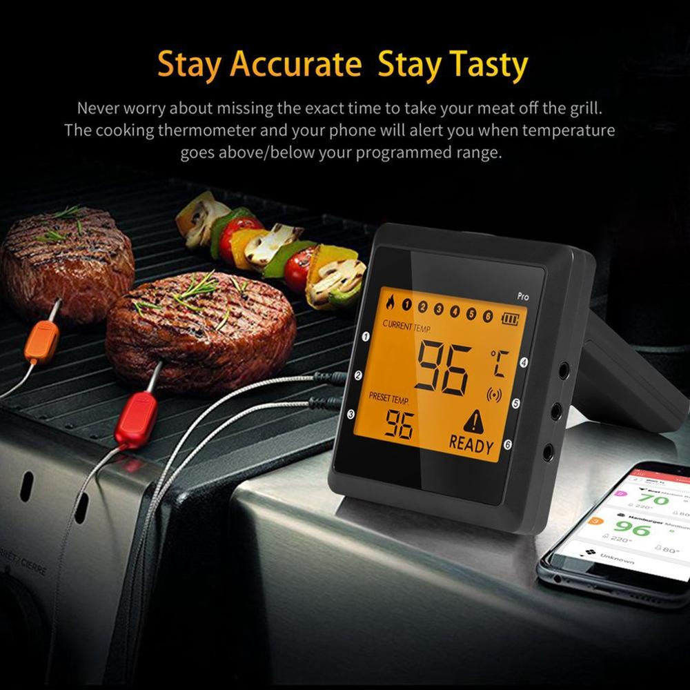 Купить с кэшбэком Wireless Bluetooth Smart BBQ Thermometer w/ 6 Stainless Steel Probes, Large LCD Display, Carrying Case, Cooking Thermometer USA