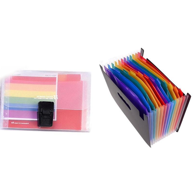 2 Pcs Folder: 1 Pcs 12 Pockets Expanding Files Folder/ A4 Expandable File Organizer/ Portable Accordion Organizer & 1 Pcs 13 Poc