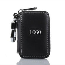 Car Key case,Genuine Leather Car Smart Key Chain Keychain Holder Metal Hook and Keyring Zipper Bag for Remote Key Fob - Black(China)