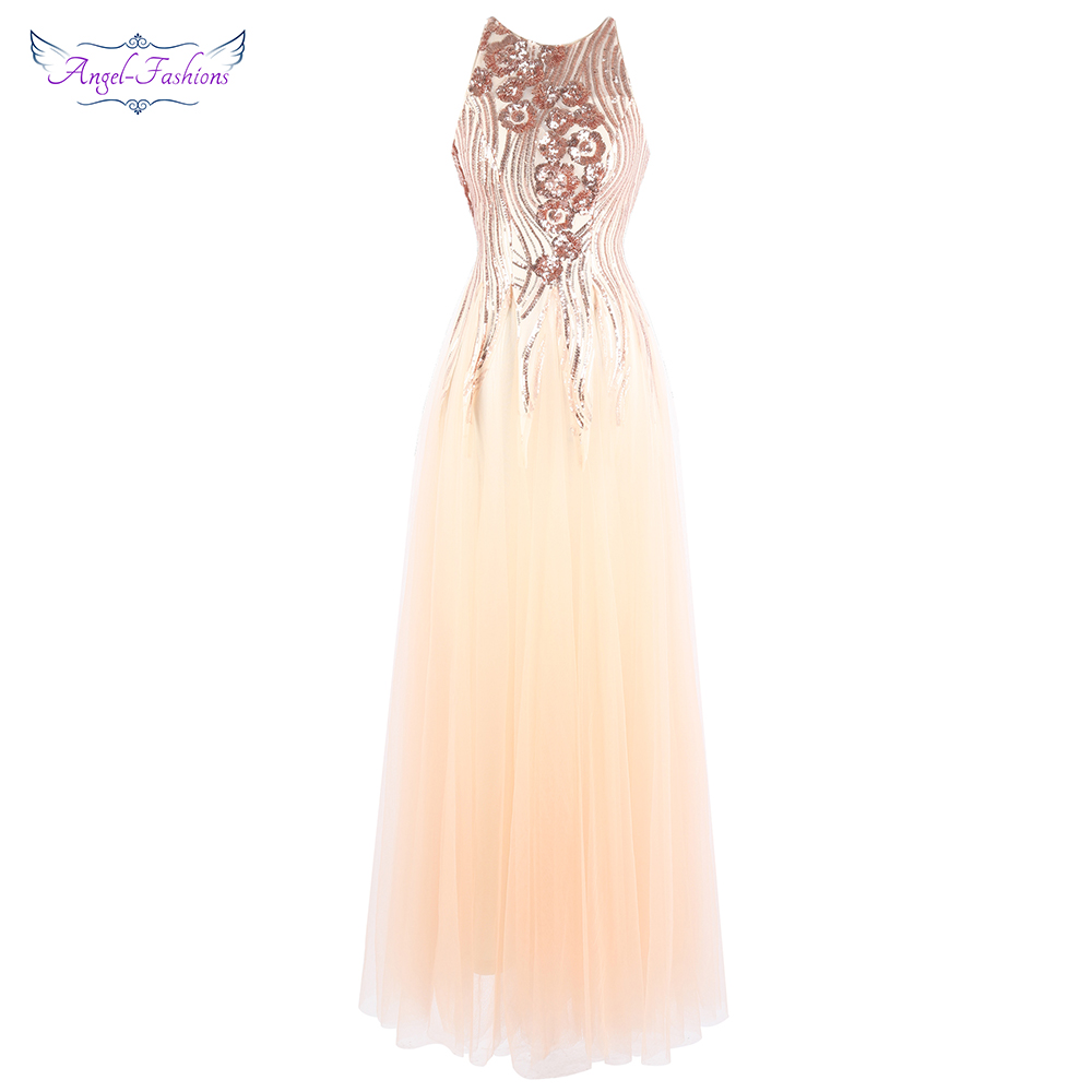 Angel-fashions Luxury Sequin Prom Dress Illusion Ball Gown Lace up Gatsby Vintage Formal Dress 437