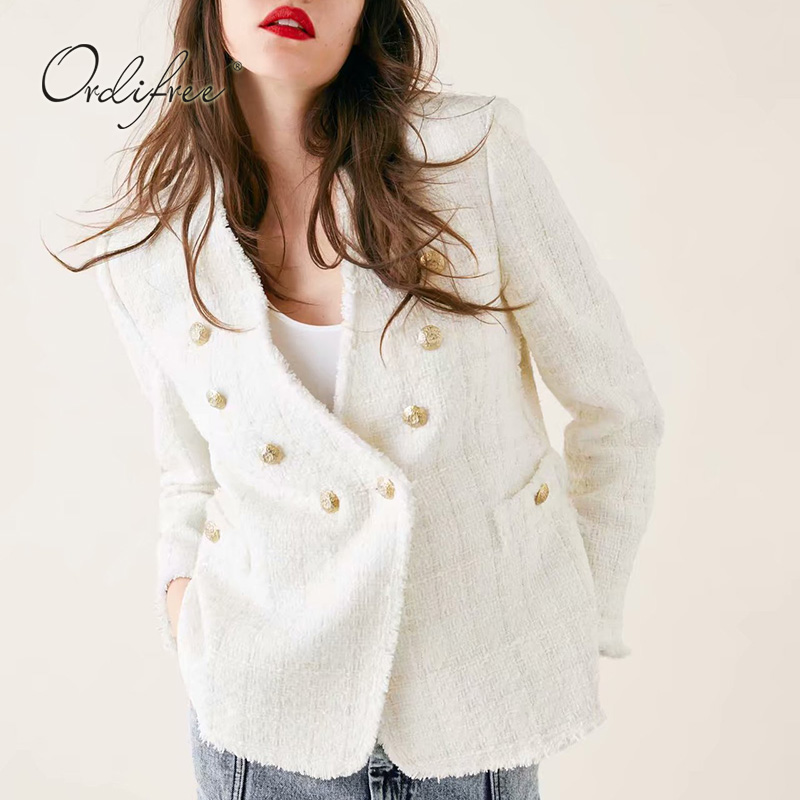 Ordifree 2019 Autumn WomenBlazer Vintage Casual Outwear Suit Jacket Coat Work Office Lady Blazer