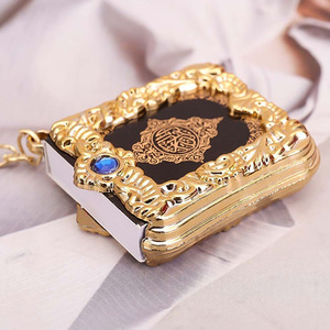 Image 1 - Muslim Islamic Mini Pendant Keychains Key Rings For Koran Ark Quran Book Real Paper Can Read Small Religious Jewelry For Wom 1Pc