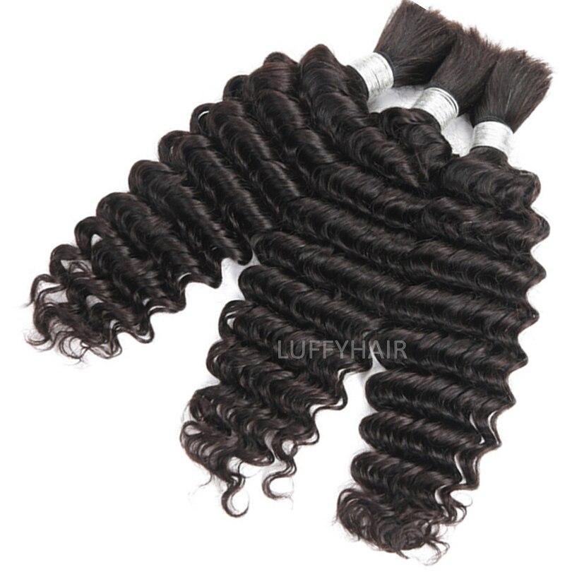 LUFFYHAIR, человеческие волосы с глубокой волной, наращивание без уток, бразильские плетеные волосы без повреждений, крупные пучки волос, 1 3 шт./л...