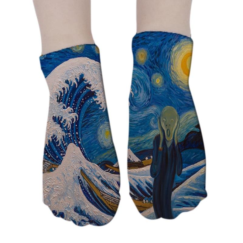New Women 3D Printed Cotton Socks Van Gogh Art Socks Harajuku Retro Classic Oil Painting Female Funny Happy Low Ankle Crew Socks
