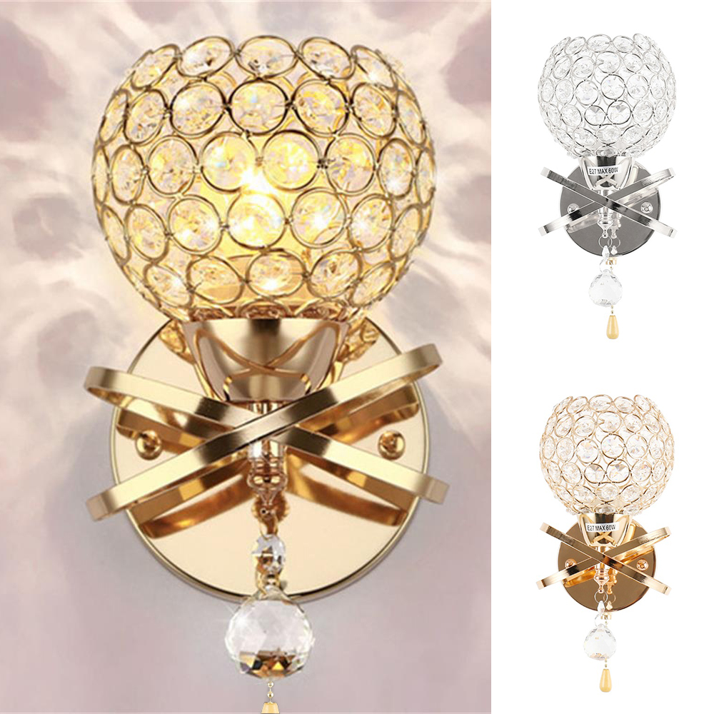 Crystal Wall Lamp Simple and Creative Bedroom Bedside Wall Lamp Home Lighting Living Room Crystal LampWall Lamps   -