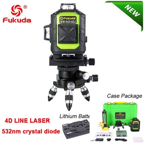 Фукуда бренд 12 линии 3D MW-93T лазерный уровень наливные 360 горизонтальный и вертикальный крест супер мощный зеленый лазер луч линии FUKUDA - Цвет: 93D-Green-Li-4GJ