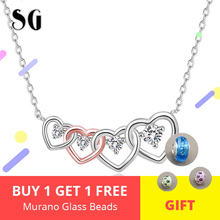 New listing 925 Sterling Silver Connected Heart Couple Heart Pendant Necklace for Girlfriend Silver Jewelry Valentine Day Gift недорого