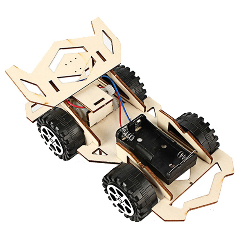 Wooden DIY Toys Electric Racing Car Model Science Assembly Model Kids Educational Toy