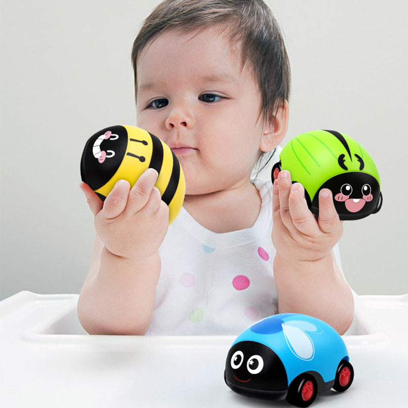 Kids Cartoon Pull Back Toys Car Inertia Trolley Insect Car Model Children Education Ladybug Insect Action Figures Toys For Baby