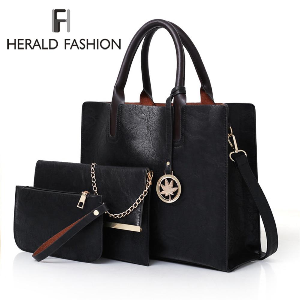 3Pcs Women's Bag Set Bag Fashion PU Leather Ladies Handbag Solid Color Messenger Bag Shoulder Wallet Bags For Women 2019