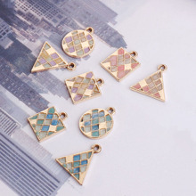 10pcs Diy Jewelry  Small Fresh Pattern Lattice Triangle Round Alloy Earrings Fashion Pendant Earrings Drop Earrings For Women fashion jewelry golden triangle small black white glass drop earrings woman gift