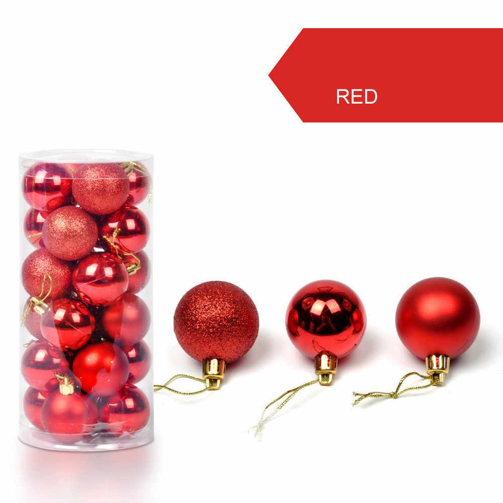 24 Uds Bola de decoración de árbol de Navidad adornos decorativos con forma de bola para colgar para el hogar regalo de decoraciones navideñas A30816