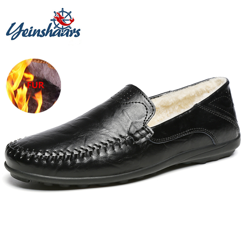 YEINSHAARS Genuine Leather Shoes Men Warm Fur Plush Flats Casual Shoes Men Slip On Loafers Soft Moccasins Shoes Driving Shoes