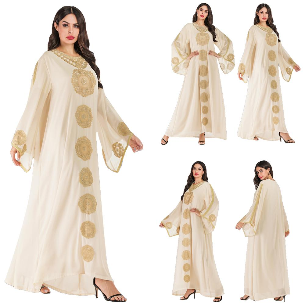 2019 Ehnic Embroidery Abaya Dubai Robe Gown Kaftan Farasha Jilbab Women Muslim Oversized Dress Chiffon Loose Arab Vintage Dress