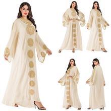 2019 Ehnic bordado Abaya Dubai bata kaftan Farasha Jilbab mujeres musulmana vestido de gran tamaño de gasa suelta árabe Vintage vestido