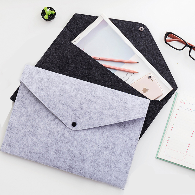 1pc simples a4 grande capacidade documento saco almofada pasta de arquivo de negócios pastas de arquivo produtos de arquivo de feltro químico 5 cores