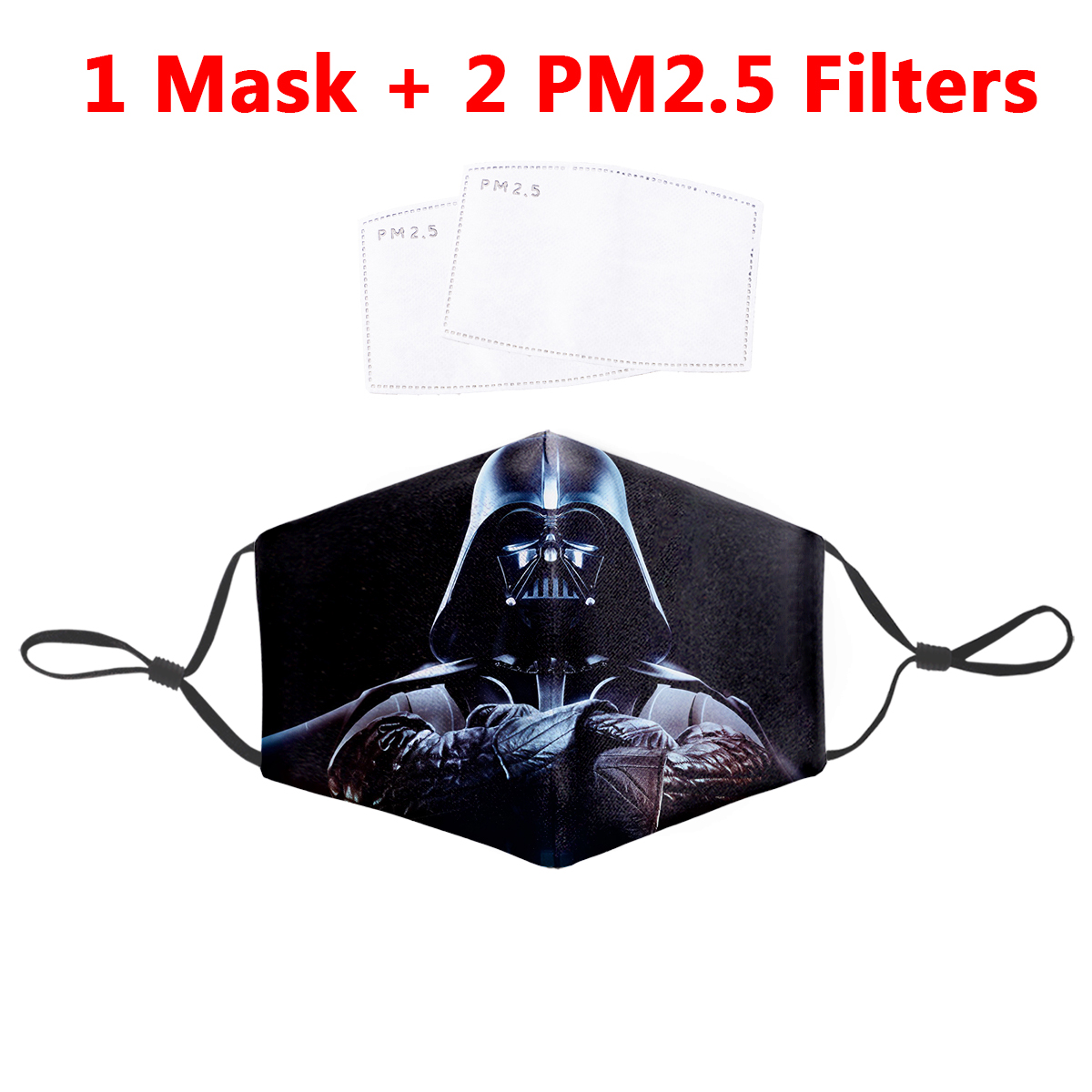 3D Darth Vader Black Pattern Mask Join The Empire Windproof Classic Movie PM2.5 Breathing Filter Fabric Polyester Mask As A Gift