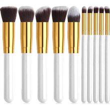 Conjunto de escova de maquiagem cor branca