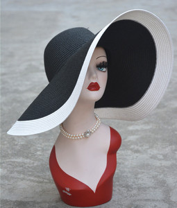 Image 2 - 7.1/18cm Huge Wide Brim Sun Hats Straw Summer Church Wedding Hats for Womens Ladies Floppy Kentucky Derby Party Dressy