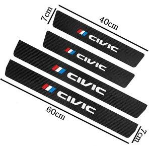 4 шт. порога протектор Кожаный углеродное волокно виниловые наклейки автомобильные аксессуары для Honda civic 2017 2018 автомобиля стикер