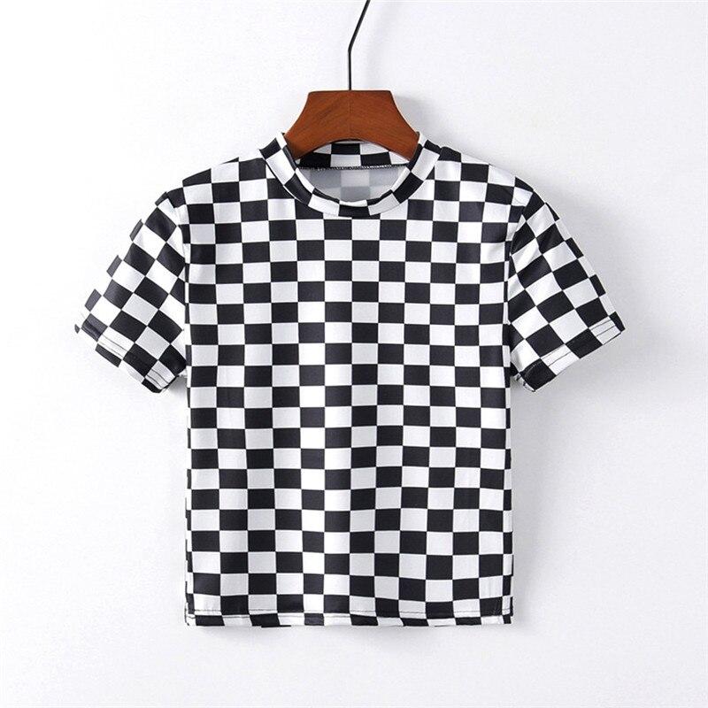 Artguy Vintage Fashion Women Short Sleeve Black & White Lattice T Shirt Black White Square Tee Crop Top Clubwear