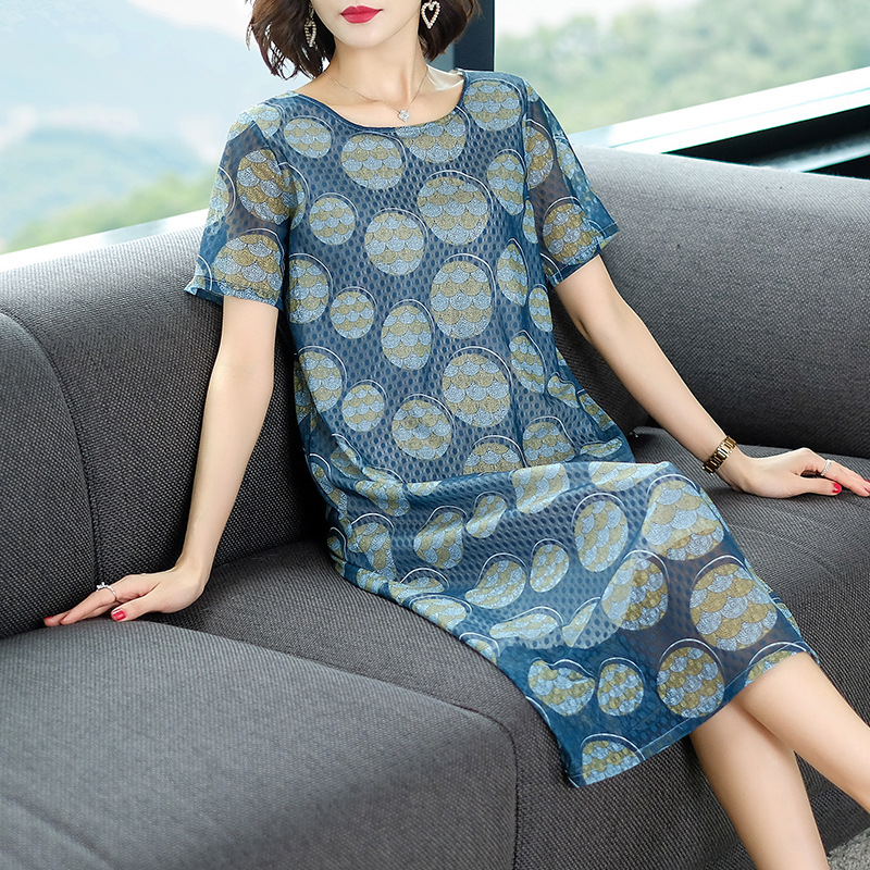 Middle-aged Women Dress 2019 Summer New Style Women's Mid-length Fashion Lace Floral Printed Dress Large Size Belly Covering A-