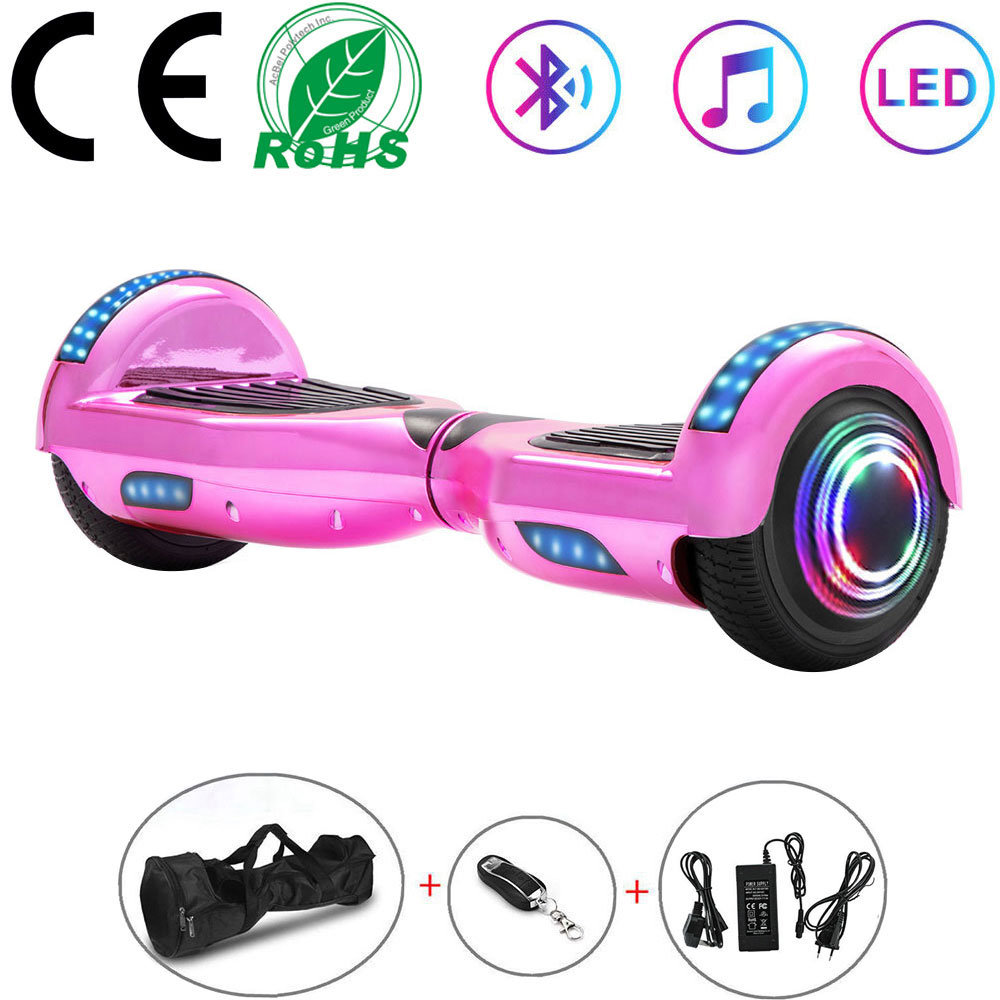 """Hoverboard 6.5"""" Self-balancing Scooters Pink Chrome Electric Scooters Smart LED 2 Wheels Lights Balance Board Bluetooth+Key+Bag"""