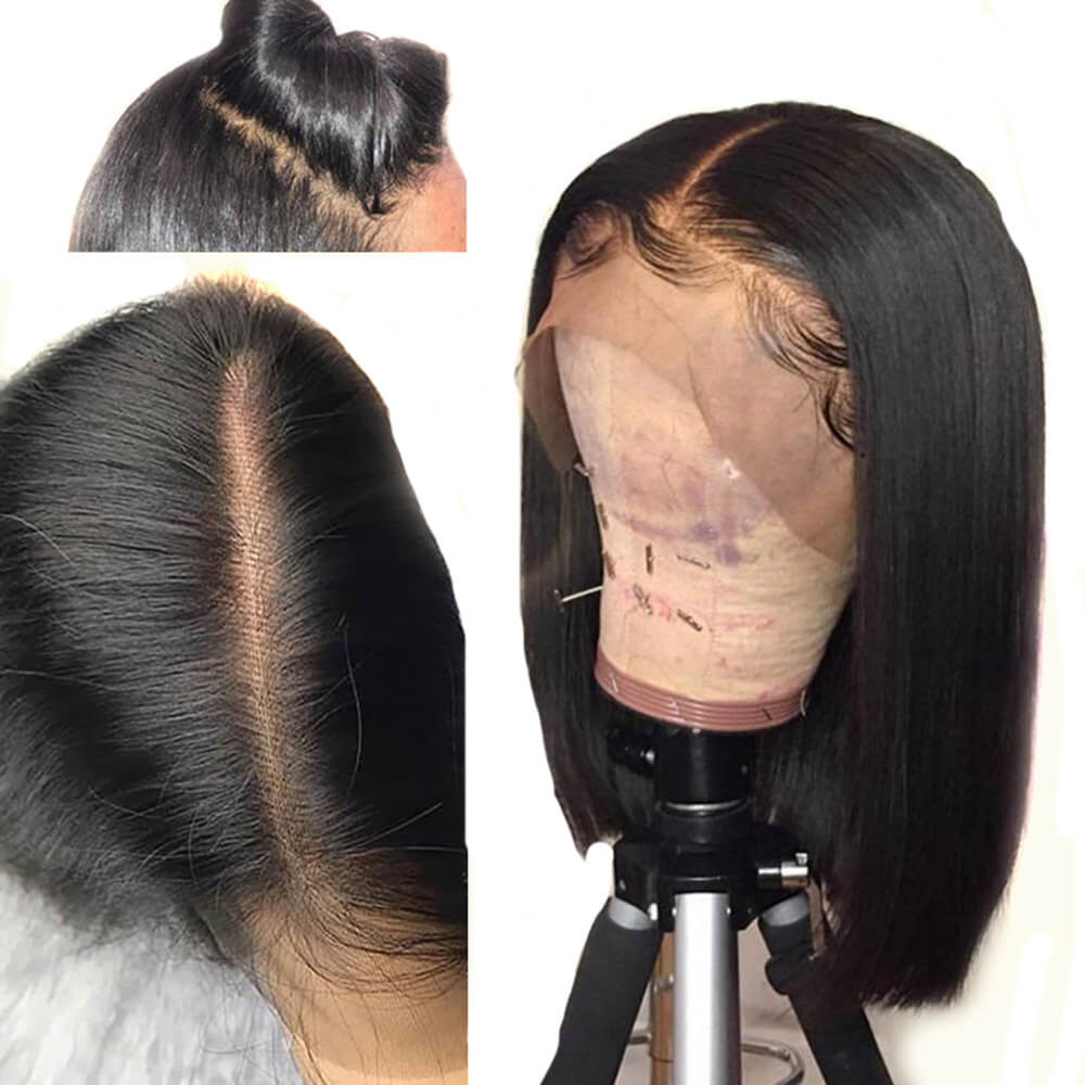 Eseewigs 13x6 Straight Human Hair Lace Front Wigs Black Women Deep Parting Wigs With Baby Hair Pre Plucked Brazilian Remy Hair
