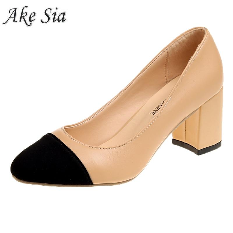 2019 New Women's High Heels Set Foot Comfort Square Heel Sexy Prom Wedding Shoes PU Leather Women Shoes High Heel   Basic