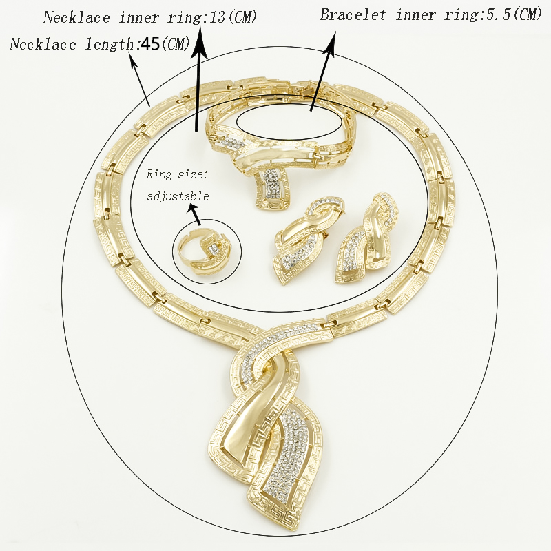 Hot DealsEarrings Jewelry-Sets Crystal Necklace Wedding-Accessories Dubai Gold Bridal Nigerian