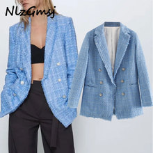 2020 ins fashion blogger office lady vintage double breasted tweed blazer women