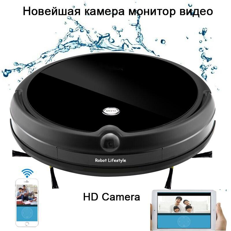Robô aspirador de pó hd câmera chamada vídeo planejado limpeza aspirador para casa varredura mop molhado controle app