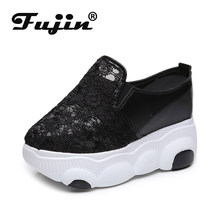 Fujin 2020 Spring Women Sneakers Platform Breathable High Heels Shoes Mesh Thick Bottom Round Toe Causal Slip Women Sneskers(China)
