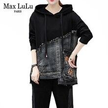 Max LuLu Herbst Koreanische Mode Marke Damen Zwei Stück Set Fitness Outfits Frauen Denim Tops Harem Hosen Vintage Schweiß Trainingsanzüge
