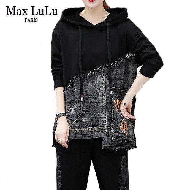 Max lulu outono marca de moda coreana senhoras duas peças conjunto roupas de fitness das mulheres denim topos harem calças suor do vintage treino