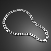 hip hop fashion 925 sterling silver pendant necklace silver men 12mm 66cm male wide necklace Solid silver jewellery accessories