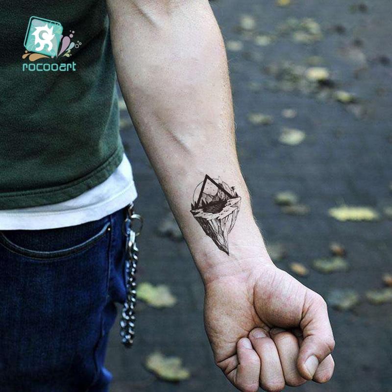 1 Sheet Mountain Pine Tree Temporary Tattoos Sticker Triangle Wave Custom Tattoo Body Art Arm Black Small Fake Tatoos
