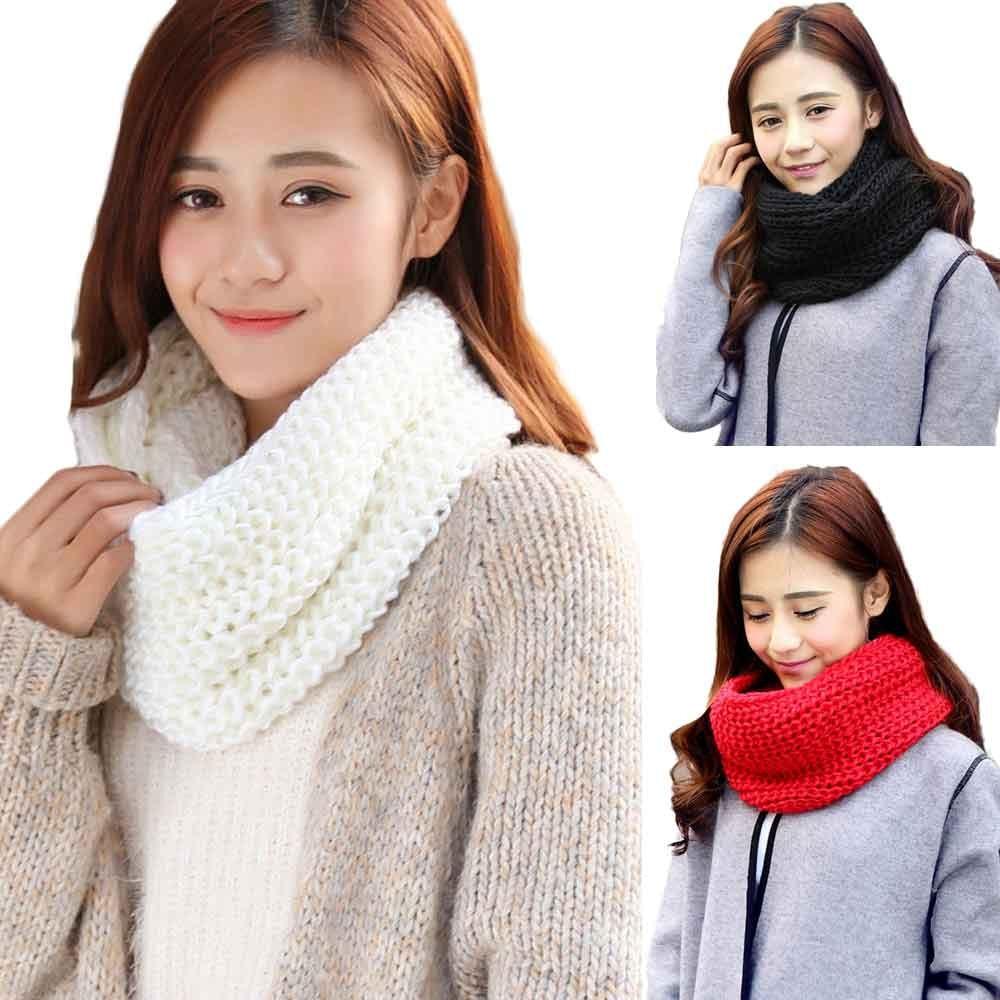 Knitted Warm Wraps 2019 Winter Scarf Elegant Fashion Warm Knit Neck Circle Wool Blend Cowl Snood  Multi-purpose Wool Scarf