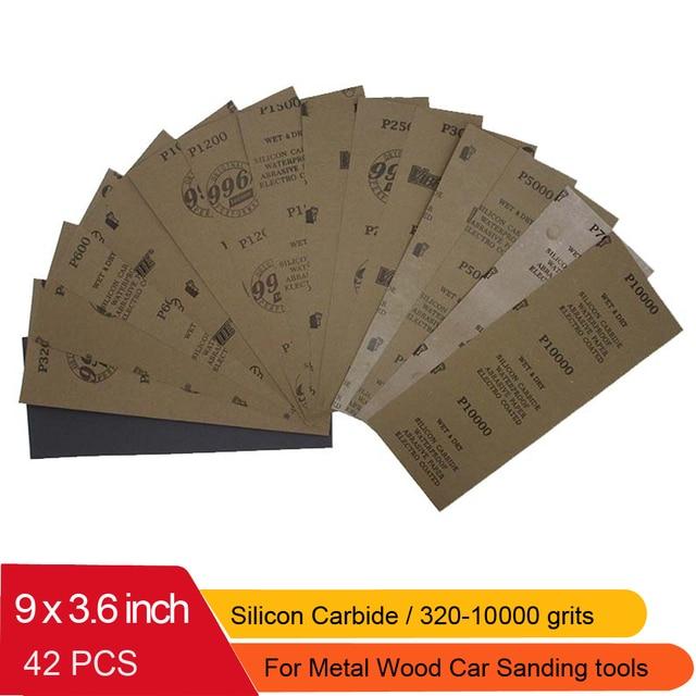 "42 Pcs Waterproof Sandpaper 320 to 10000 Grit, 9"" x 3.6"", for Wood Furniture Finishing, Metal Sanding and Automotive Polishing"