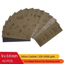 """42 szt. Wodoodporny papier ścierny 320 do 10000 Grit, 9 """"x 3.6"""", do wykańczania meble drewniane, szlifowanie metali i polerowanie samochodów"""