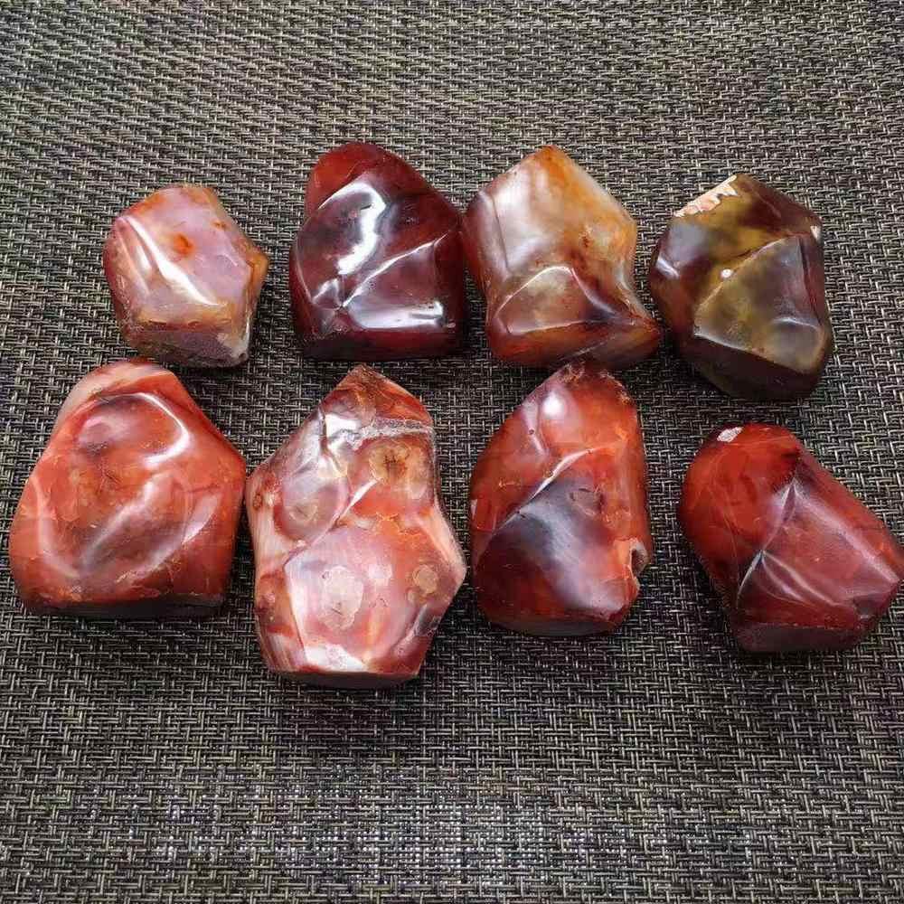ขัดธรรมชาติสีแดง Agate คริสตัลหินควอตซ์เปลวไฟนิลไฟฉายสำหรับ Healing คริสตัลของขวัญ