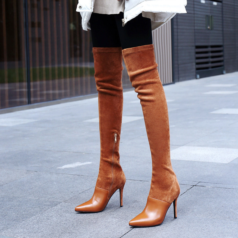 2020 Winter Over The Knee Women Boots Stretch Fabrics High Heel Slip On Shoes Pointed Toe Woman Long Boots Size 34-43