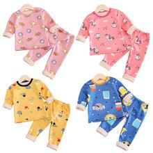 Комплекты зимне осенней одежды для детей теплые флисовые пижамы