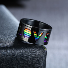 LETAPI Black Spinner Ring for Men Hollow Rainbow LOVE Wedding Band Glossy Stainless Steel Rotatable Stress Release LGBT Jewelry