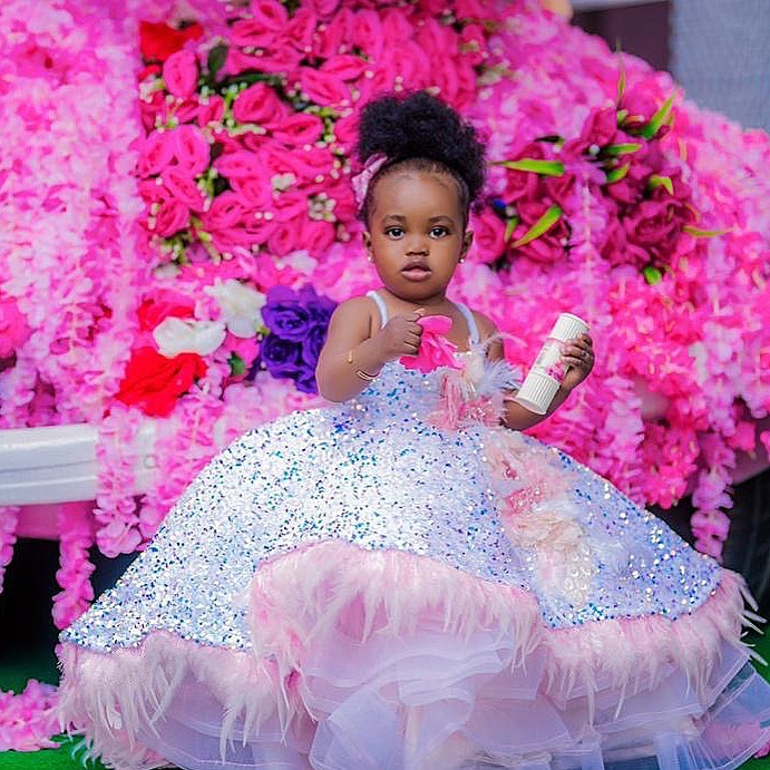 Kids Flower Girl Dresses Thin Shoulder Strap Girl Dresses Fluffy Tulle Kids Formal For Wedding Party Holy Communion Dresse