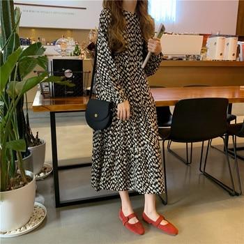 Women Dress 2020 Spring Summer Korean Fashion Vintage Print Chiffon Midi Ladies Elegant Loose Dresses Clothes