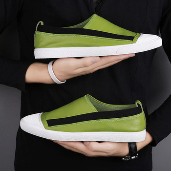 Men Casual Shoes High Quality Leather Slip On Mens Loafers Breathable Outdoor White Sneakers Soft